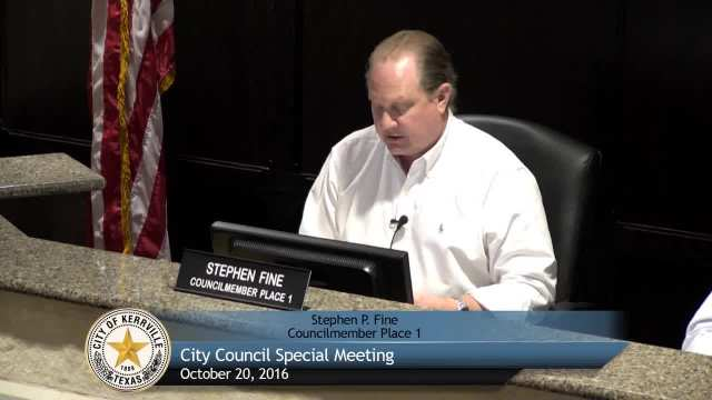 Special City Council Meeting - October 20, 2016