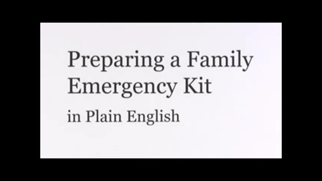 Preparing Family Emergency Kit