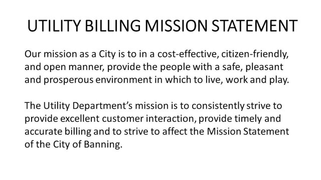 Utility Billing Mission Statement