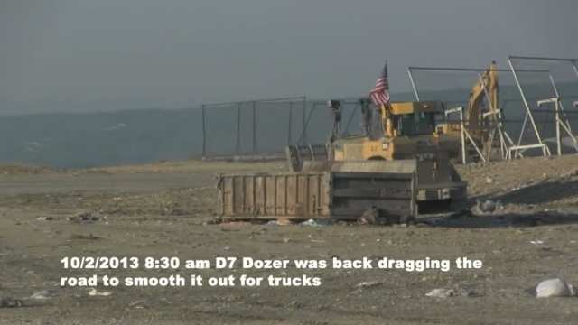 Dozer back dragging clean out box area