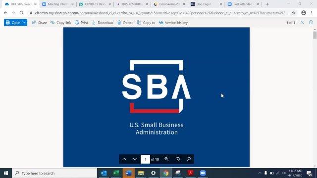 SBA Webinar April 14 2020