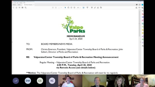 Valpo Parks April Board Meeting