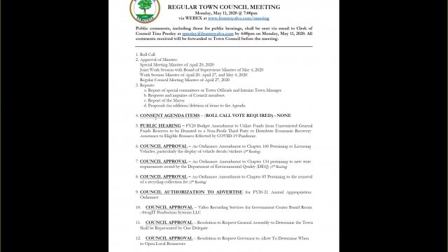 Town Council Regular Meeting for May 11th, 2020