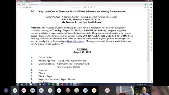 Valpo Parks August  Board Meeting (Virtual)