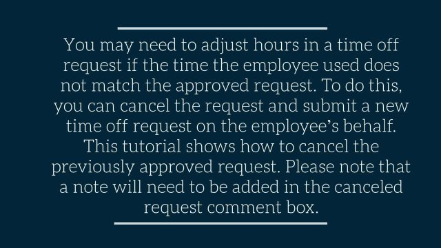 Canceling an Employee's Time Off Request