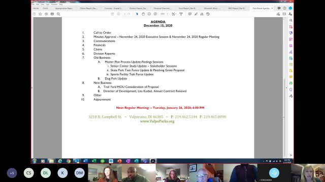 Valpo Parks December Virtual Board Meeting