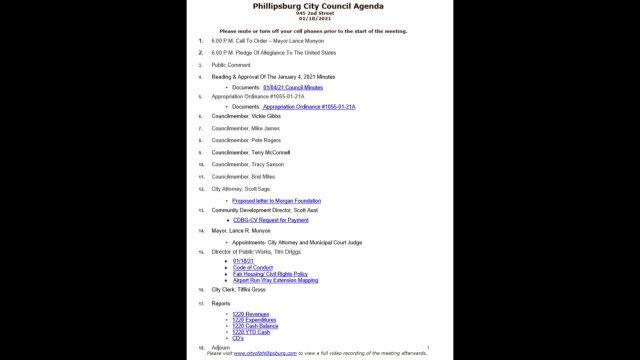 City Council Meeting 01/18/2021