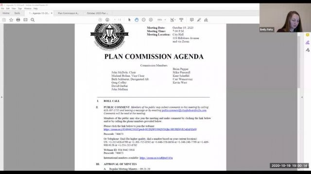 Plan Commission Meeting (10-19-20)