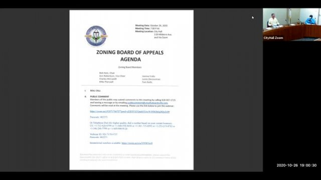 Zoning Board of Appeals Meeting (10-26-20)