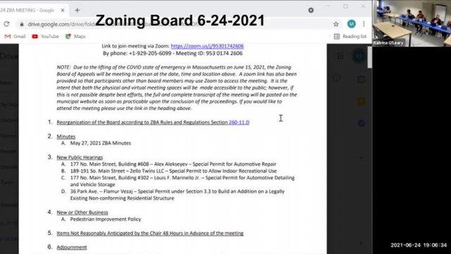 Zoning Board of Appeals 6-24-2021