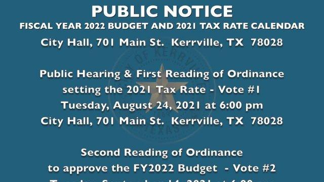 Budget Tax Rate Calendar FY2022