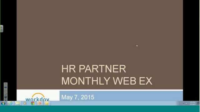 Workday Partner Monthly Check-in 05/07/2015