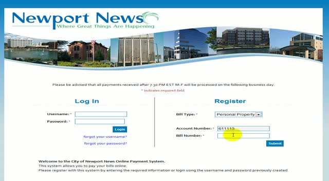 Register a new username - Personal Property bill