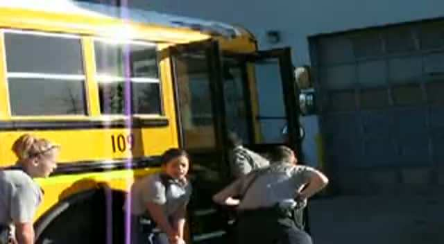 Cadets conduct a school bus exercise